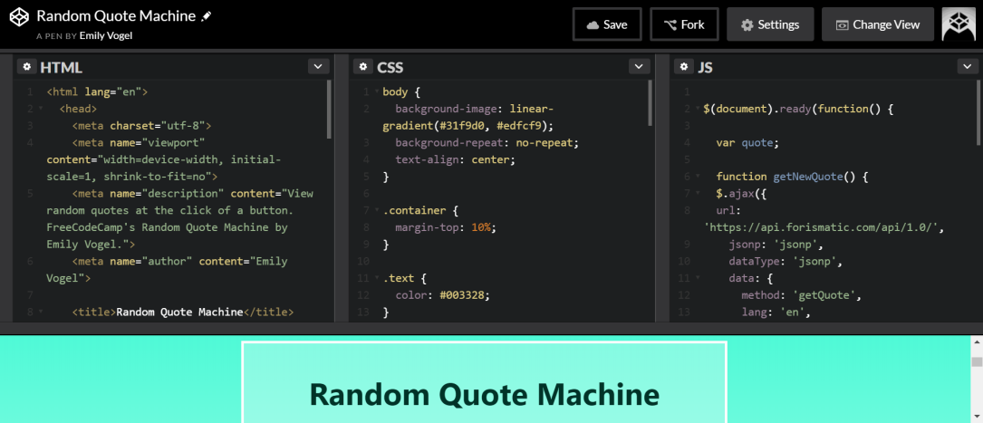 codepen random quote machine snapshot freecodecamp challenge