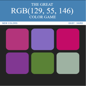 Web Dev Bootcamp project - RGB color game