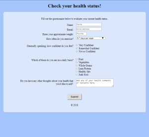 html form for analyzing health